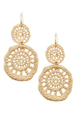 Double Circle Textured Earrings