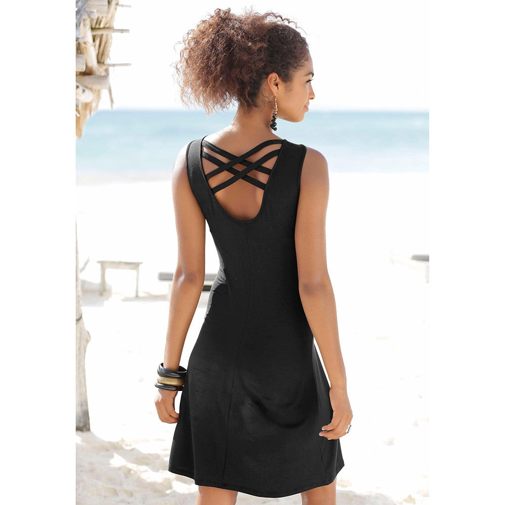 Women's Boho A Line Dress - Solid Colored Backless Black L XL XXL
