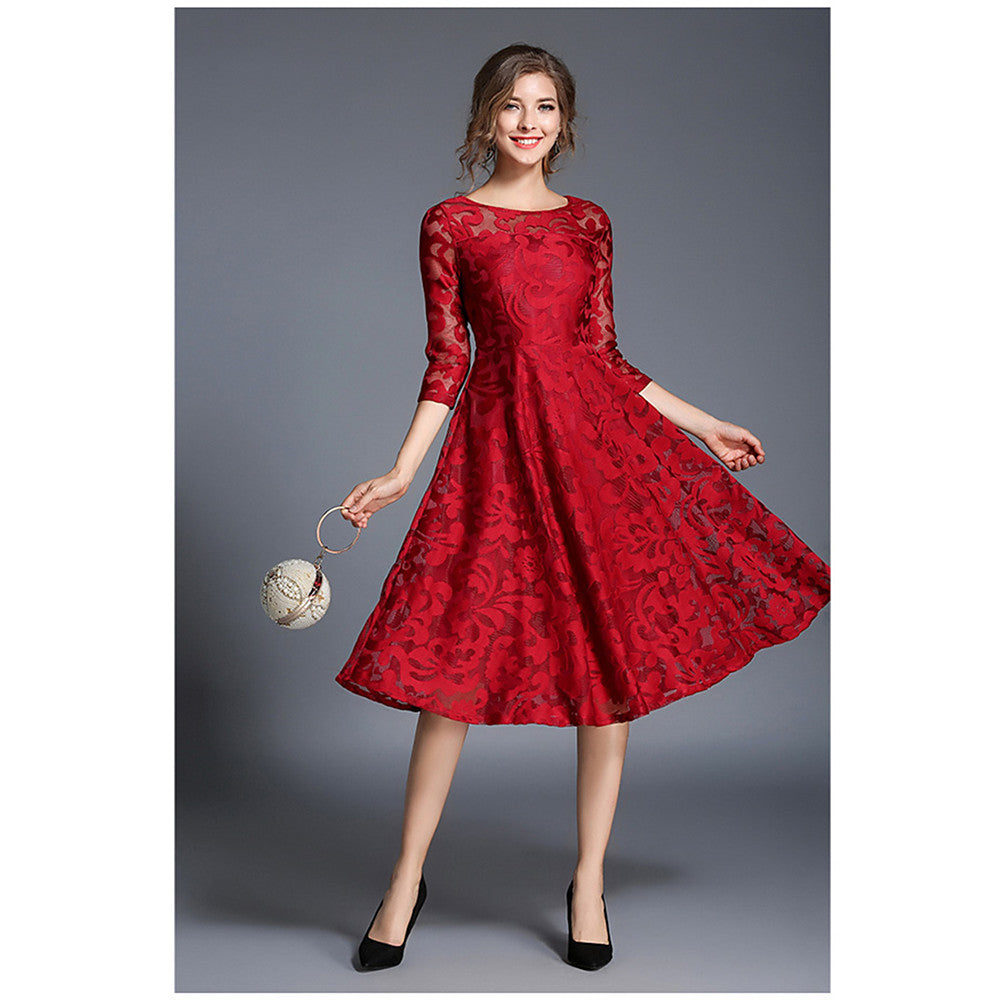 Women's Lace Party Going out Sophisticated A Line Dress - Solid Colored Red, Lace Spring Blue Red L XL XXL