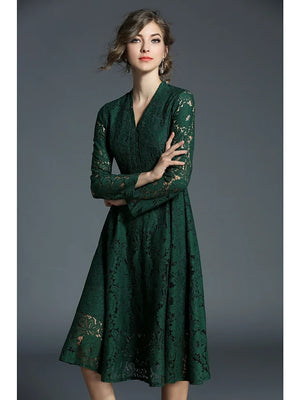 Women's Lace Going out / Casual / Daily Boho / Street chic A Line / Lace Dress - Solid Colored Lace V Neck Fall Green L XL XXL