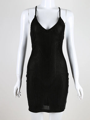 Women's Party Street chic Mini Skinny Bodycon Dress - Striped Backless Strap Strapless Spring Black S M L / Sexy