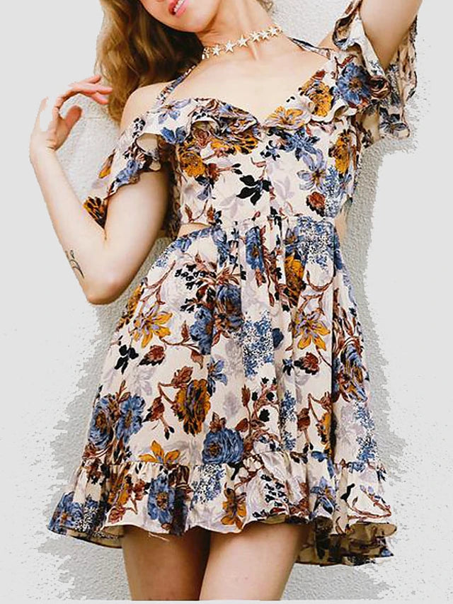 Women's Off Shoulder Daily Swing Dress - Floral Print V Neck Spring Cotton Blue M L XL / Ruffle