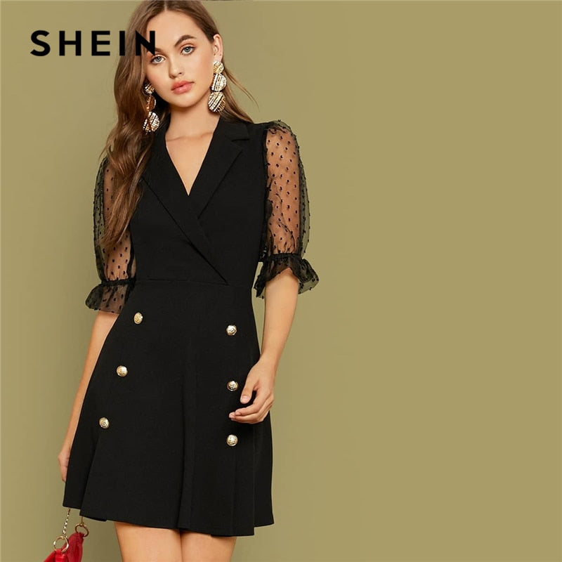 SHEIN Black Notch Collar Double Button Front Office Dress Women 2019 Autumn Mesh Sleeve V Neck Wrap Elegant Flared Dresses