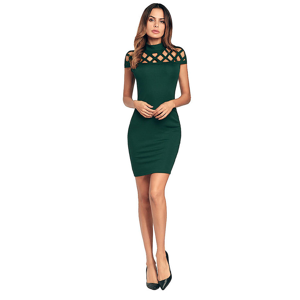 Women's Cut Out Party Slim Bodycon Dress - Solid Colored Red, Cut Out High Waist Stand Spring Cotton Green Black Red L XL XXL