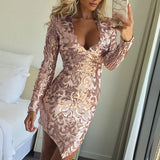 Women's 2019 New Year Club Party / Cocktail Sexy Slim Bodycon Dress - Solid Colored Sequins Deep V Gold Silver M L XL