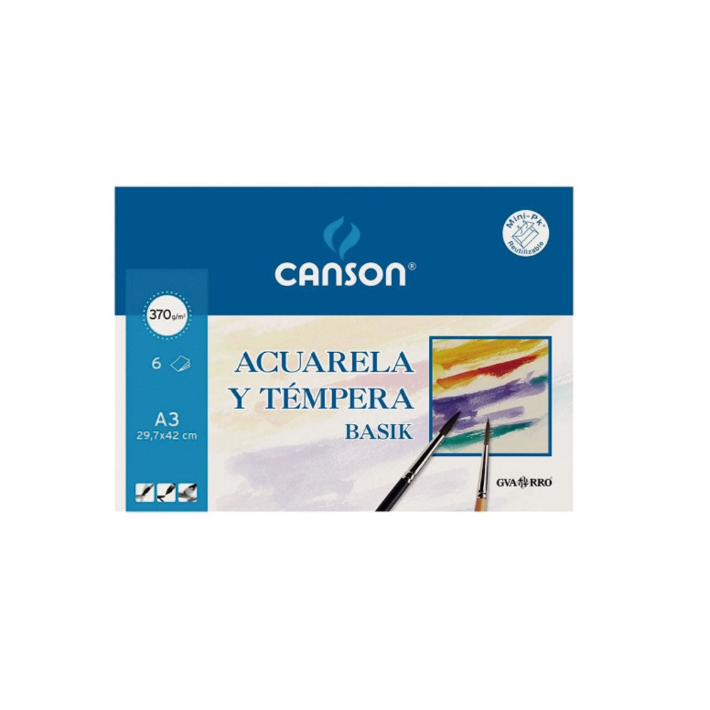 Set de papel guarro par Acuarelas y tempera A3 370gr