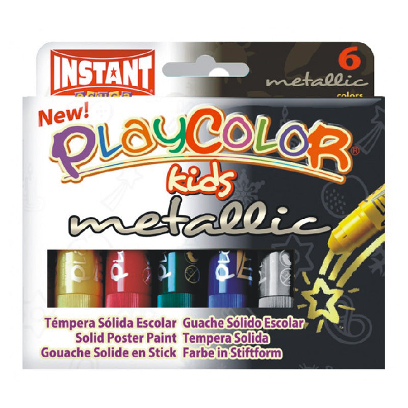 Tempera solida metalizada 6 colores10gr playcolor #10321