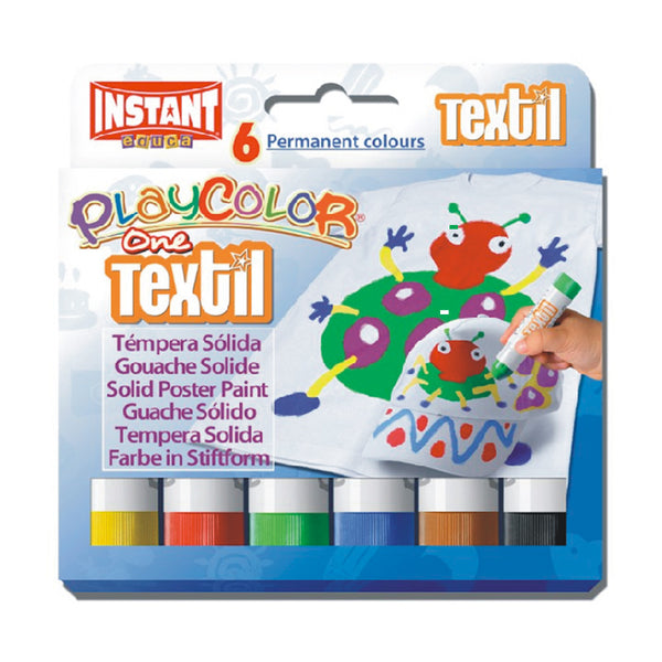 Tempera solida textil 6 colores10g playcolor #10401