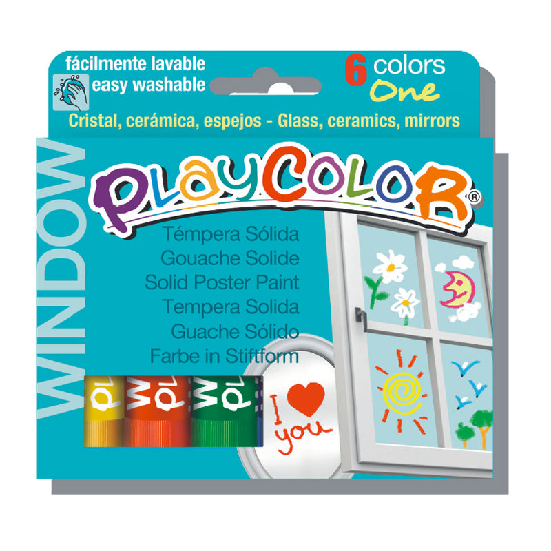 Tempera solida para vidrios 6 colores playcolor #02001
