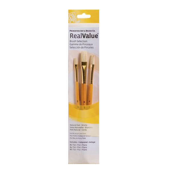 Set 3 pinceles pelo natural Amarillo RealValue