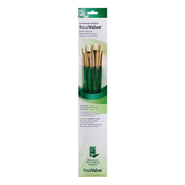 Set 4 pinceles pelo natural Verde RealValue