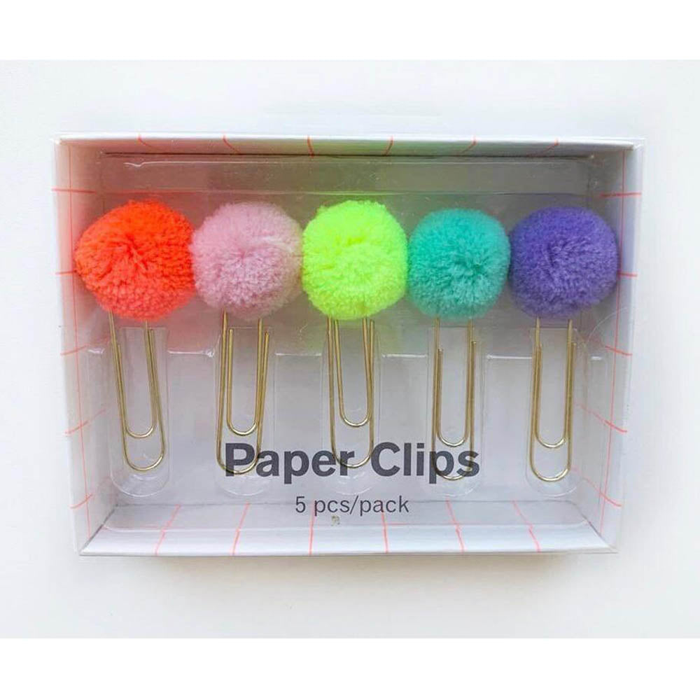 Set 5 Clips con Pompom Colores