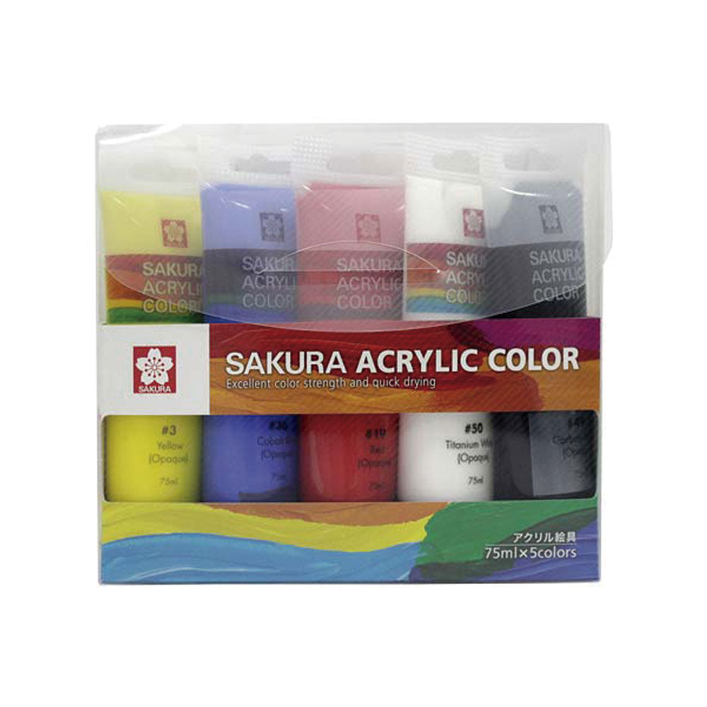 Set de pintura acrilica 5 colores 75ml