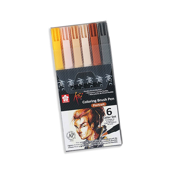 Set 6 Brush Pen Acuarelable Koi Coloring Brush RETRATOS