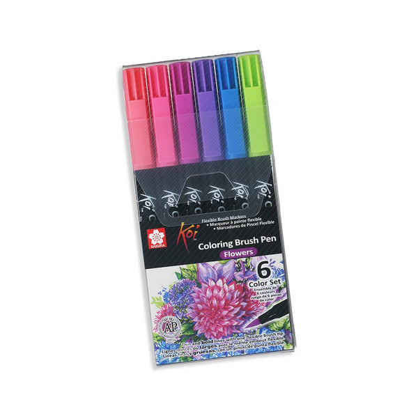 Set 6 Brush Pen Acuarelable Koi Coloring Brush FLOWERS