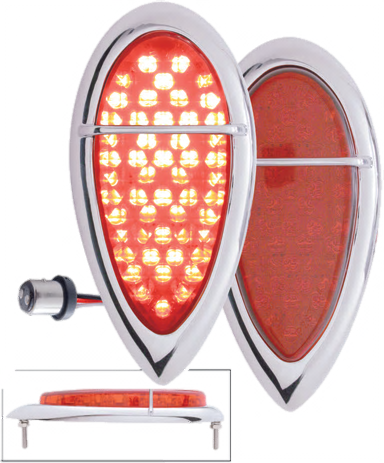 1938-39 Baby Zephyr LED Tail Light w/Chrome Bezel - Flush Mount