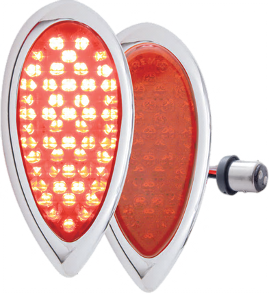 1938-39 Ford LED Tail Light w/Chrome Bezel Flush Mount