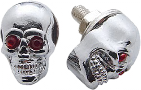Zinc Die Cast - Red Jewelled Eyes Plated with Chrome. Set of 2