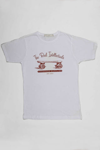 The Real Intellectuals Tee VINTAGE SKATE - White
