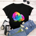 Summer Cotton Women T Shirt 5XL Plus Size Colorful Flower Print Short Sleeve Women Tees Shirt Top Casual O-Neck Female TShirt - Viessestore