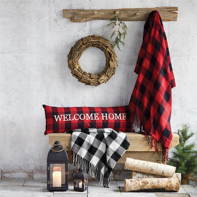 Buffalo Check Welcome Home Long Pillow - Bella Bea Boutique