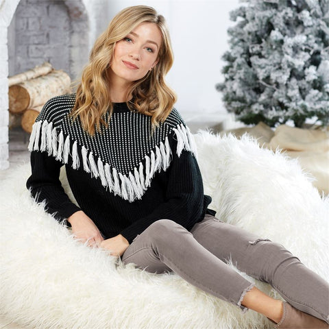 Leo Fringe Sweater - Bella Bea Boutique