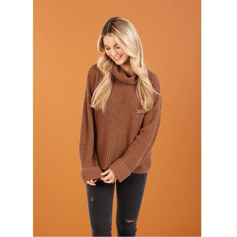 Wendy Waffle Knit Sweater - Bella Bea Boutique