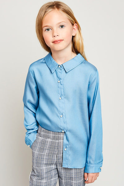 Naomi Pearl Button Kid's Shirt - Bella Bea Boutique