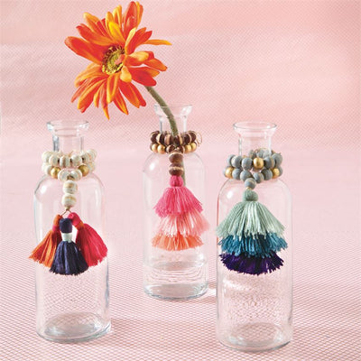 bead and tassel vases glass bottleneck mud pie