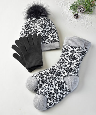 black white winter hat sock glove set