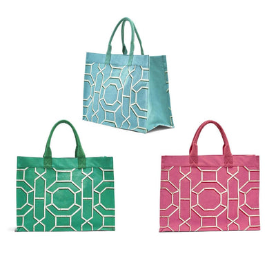 chinoiserie canvas tote bag blue green pink