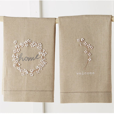 cotton french knot tea towel mud pie wreath home welcome floral