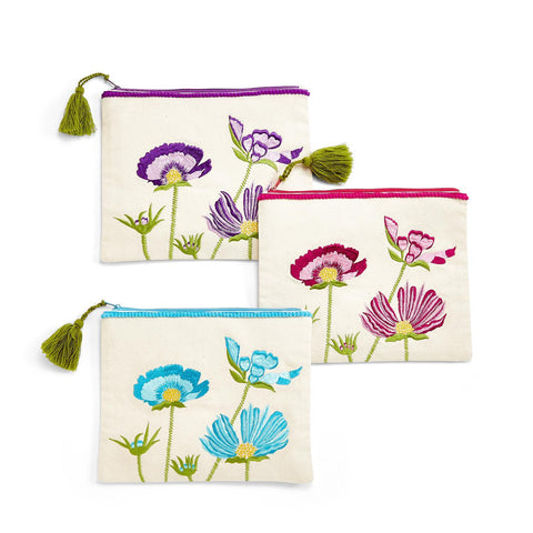 floral multipurpose tassel pouch pink blue purple