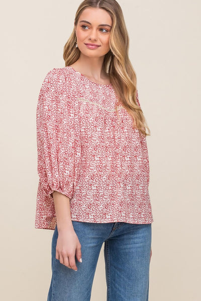 floral print round neck lace inset blouse top