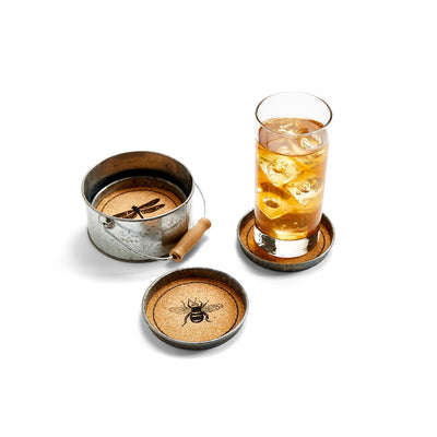 garden set four 4 cork coaster set
