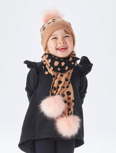 kids leopard pom pom winter set