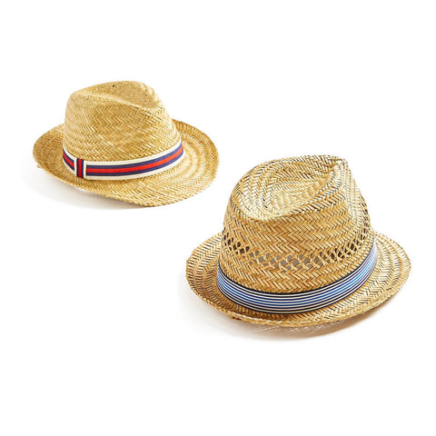 kids straw hat fedora ribbon stripes red navy blue