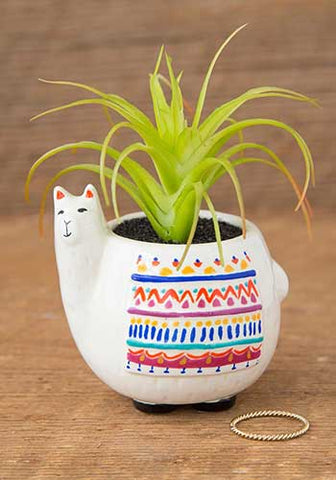llama fauxceramic succulent pot natural life