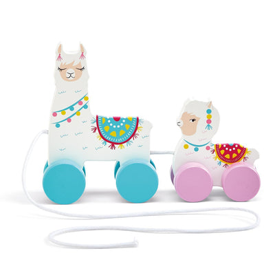 llama love hand crafted pull toy