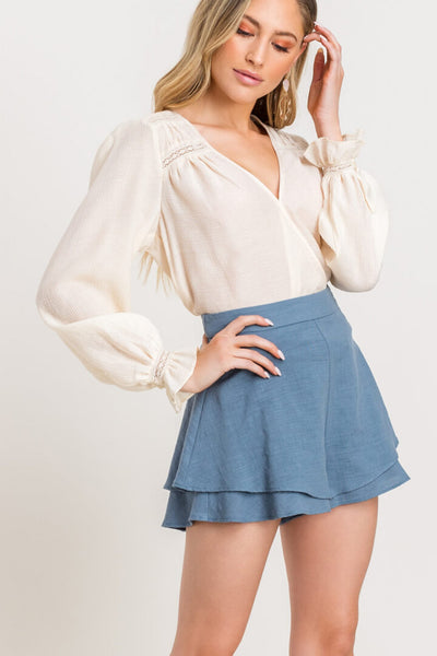 lush denim blue ruffle high waisted shorts