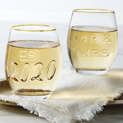 mr & mrs est. 2020 wedding wine glass set mud pie