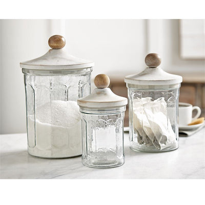 mud pie glass canister set home decor kitchen