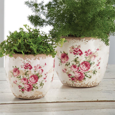 mud pie rose stamped pot set vase planter