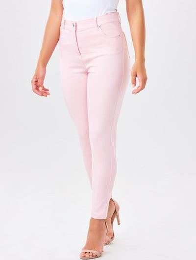 pink stretch denims