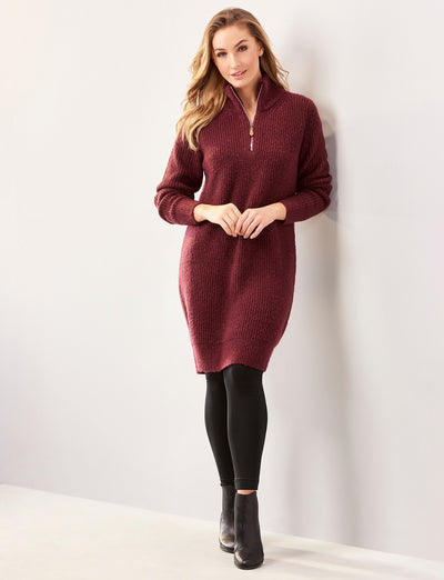 quarter zip sweater tunic dress wine maroon