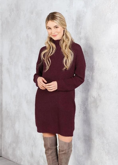 sparrow sweater dress maroon mud pie