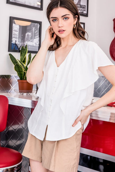 thml ruffle button up top blouse white