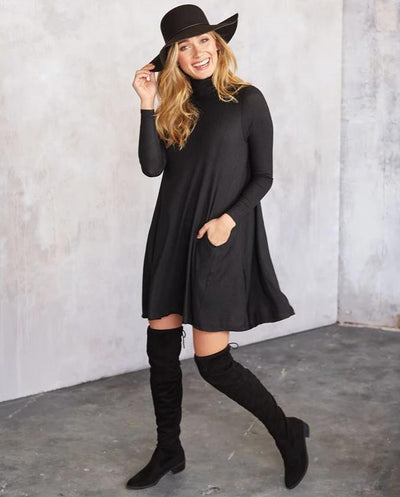 topher turtleneck jersey dress mud pie black