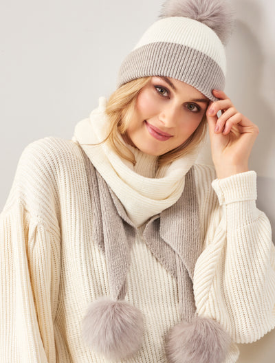 two tone winter scarf and hat set