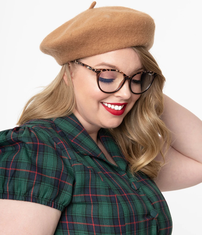 unique vintage tan beret
